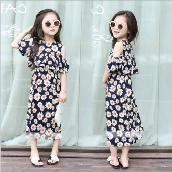 Cotton small girls off-the-shoulder dress Korean-style sling dress
