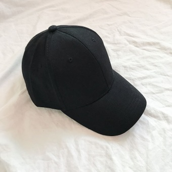 Couple's Korean-style solid color male basic baseball cap hat (Black)