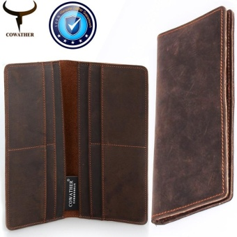 COWATHER 2017 Men Wallets Slim Leather Vintage Cow Crazy Horse ID/Credit Card Holder Bifold Front Pocket Wallet Good Manual Male Purse Coffee - intl
