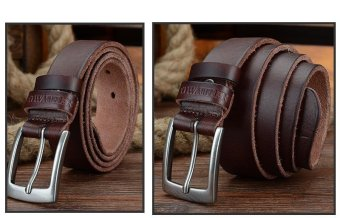COWATHER Men's Top Soft Casual Cow Genuine Leather Belt with Single Prong Buckle Ratchet Dress Waistband Belts - 3