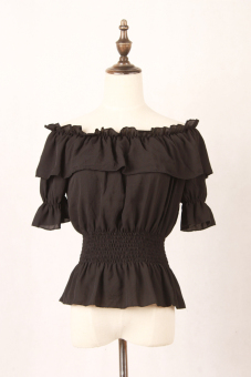 Crazy sweet chiffon horizontal neck off-the-shoulder T-shirt (Black) (Black)