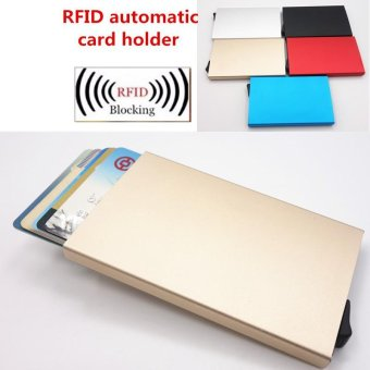 Credit Card Holder RFID Blocking Aluminum Business Card HolderPop-up Card Case Gold - intl