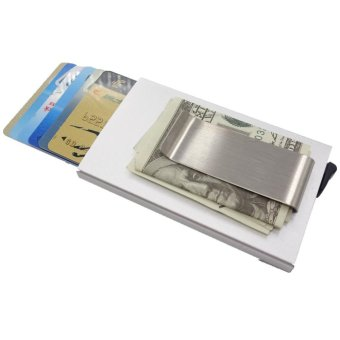 Credit Card Holder RFID Blocking Aluminum Business Card HolderPop-up Card Case money clip Silver - intl Price Philippines