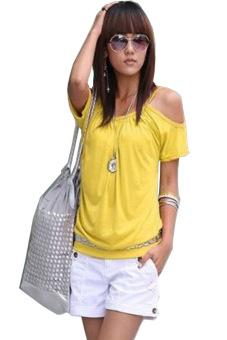 Crewneck Off Shoulder T-Shirt (Yellow)