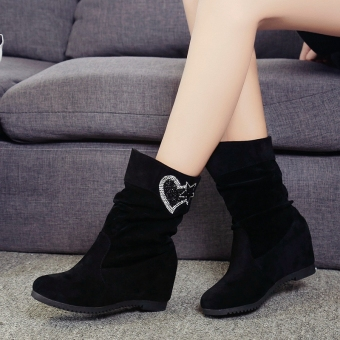 Crystal autumn New style matte women's shoes warm boots (Black color)