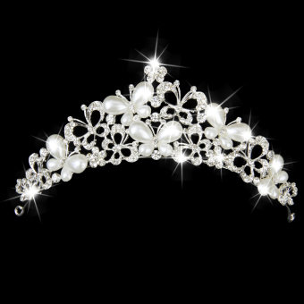 Crystal Pearl Butterfly Tiara (Silver)