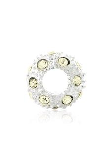 Crystal Rhinestone Charm Beads Set of 5 (Yellow/Silver)
