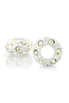 Crystal Rhinestone Charm Beads Set of 5 (Yellow/Silver) - picture 2