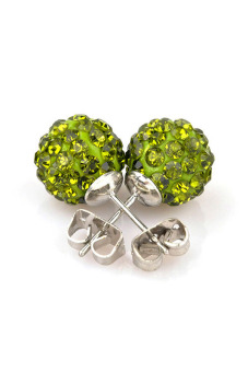 Crystal Rhinestones and Clay Shamballa Ear Studs Earrings (Green) - picture 2