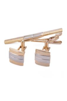 Cufflink And Tie Clip Set (Gold)
