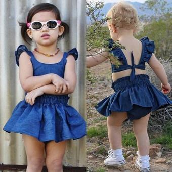 Cute Baby Girls Kid Toddler Summer Ruffle Denim Jeans Tutu OutfitShort Dress - intl - 2