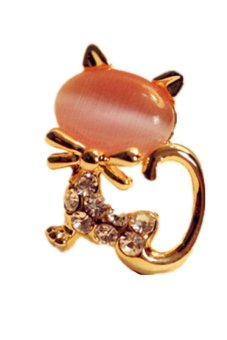 Cute Cat Stone Crystal Rhinestone Stud Earrings Pink