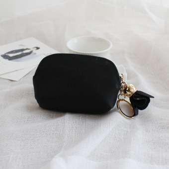 Cute female student purse small wallet (Black)