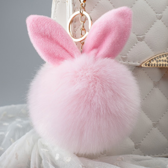 Cute Rabbit Ear Fuzzy Ball Pendant Key Chain (Pink)