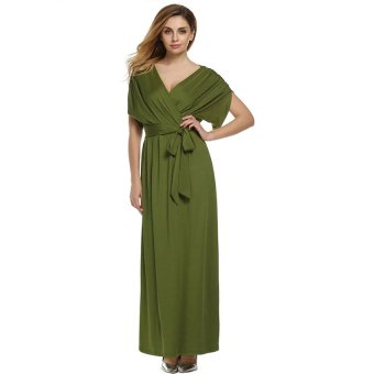 Cyber ANGVNS Sexy Women Batwing Sleeve Deep V Neck Solid Maxi Long Dress Party Evening Full Gown with Belt ( Green ) - 2