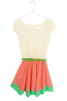 Cyber Colorful Stripe Party Mini Dress With Belt (Multicolor)