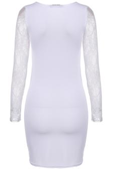 Cyber Fashion Lace Splicing Long Sleeve Dress ( White )
