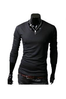 Cyber Long Sleeve Men Slim T-shirts Tee Tops ( Black )