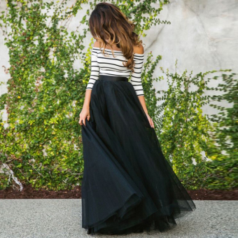 Cyber New Fashion Women Ladies Off-shoulder Striped High Waist Tutu Ball Gown Party Club Slim Long Dress Sets