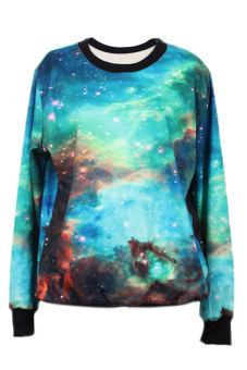 Cyber Pattern Printing Round Neck Loose Long Sleeve T-Shirt