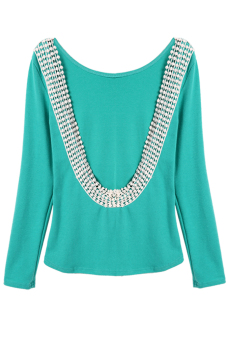 Cyber Sexy Long Sleeve O-neck Backless Lace Trim Tops - picture 2