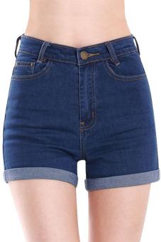 Cyber Summer High Waist Crimping Denim Shorts Jeans (Dark Blue ...