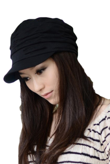 Cyber Unsex Women Pleated Peaked Cotton Sun Hat (Black)