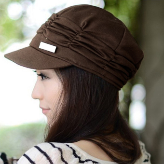 Cyber Unsex Women Pleated Peaked Cotton Sun Hat (Coffee) - picture 2