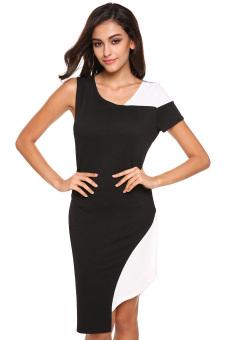 Cyber Women Asymmetric Collar Irregular Hem Bodycon Dress (Black)