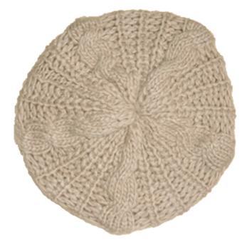 Cyber Women Beret Braided Baggy Beanie Crochet Hat Ski Cap (Beige)
