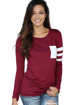 Cyber Women Long Stripe Sleeve Casual T-Shirt (Red)