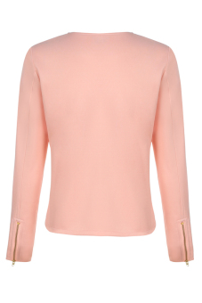 Cyber Women O-Neck Zipper Long Sleeve Top Base Women's Jacket Coat ( Pink )