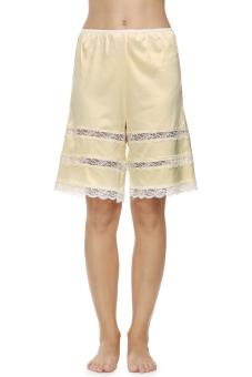 Cyber Women Satin Fabric Laciness Pants (Beige)