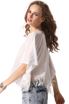 Cyber Women Tassel Loose T-shirt (White) - picture 2