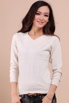 Cyber Women V-neck Sweater Long Sleeve Knitted Jumper Tops White