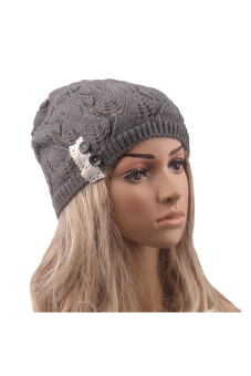Cyber Women Wool Button Lace Patchwork Knitted Hat (Dark Grey)