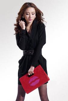 Cyber Women's Casual V-neck Long Sleeve Dresses with Belt (Black)