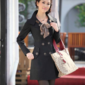 Cyber Womens Double-Breasted Long Trench Jacket Coat Scarf (Black) - 2