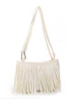 Cyber Women's Girl Tassel Cross-body Handbag Shoulder Bag(White)