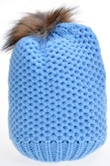 Cyber Women's Hat Stylish Knit Faux Fur Warm Cap Hats ( Blue )