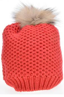 Cyber Women's Hat Stylish Knit Faux Fur Warm Cap Hats ( Red )