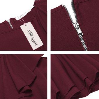 Cyber Women's Long Sleeve One Shoulder Asymmetric Ruffles PeplumBlouse Tops ( Wine Red ) - intl - 4