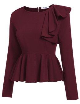 Cyber Women's Long Sleeve One Shoulder Asymmetric Ruffles PeplumBlouse Tops ( Wine Red ) - intl - 2