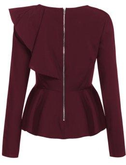 Cyber Women's Long Sleeve One Shoulder Asymmetric Ruffles PeplumBlouse Tops ( Wine Red ) - intl - 3