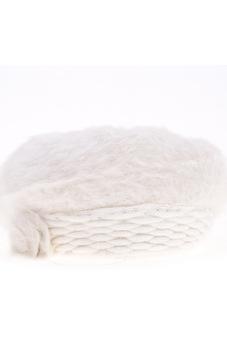 Cyber Women'S Winter Warm Knitted Real Fur Hats Beanie Cap (White)