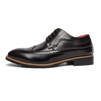 CYOU Fashion Mens Formal Shoes Brogue Casual Leather Shoes (Black) - intl - 5