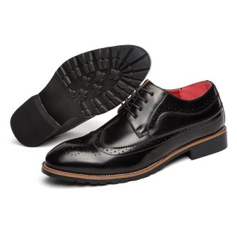 CYOU Fashion Mens Formal Shoes Brogue Casual Leather Shoes (Black) - intl - 4