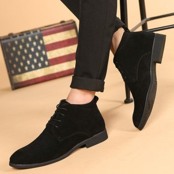 CYOU New Arrival Leather Oxford Lace Up Formal Dress Boot Fashion Mens Pointed Toe Chukka Winter Shoes (Black) - intl - 5