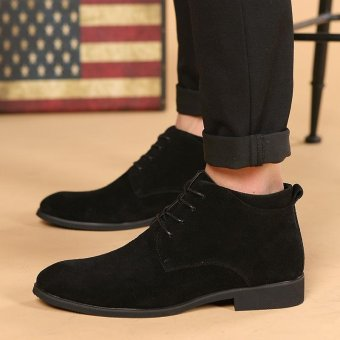 CYOU New Arrival Leather Oxford Lace Up Formal Dress Boot Fashion Mens Pointed Toe Chukka Winter Shoes (Black) - intl - 3