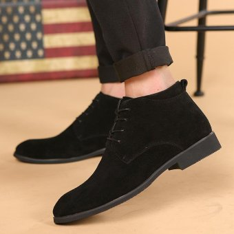CYOU New Arrival Leather Oxford Lace Up Formal Dress Boot Fashion Mens Pointed Toe Chukka Winter Shoes (Black) - intl - 4